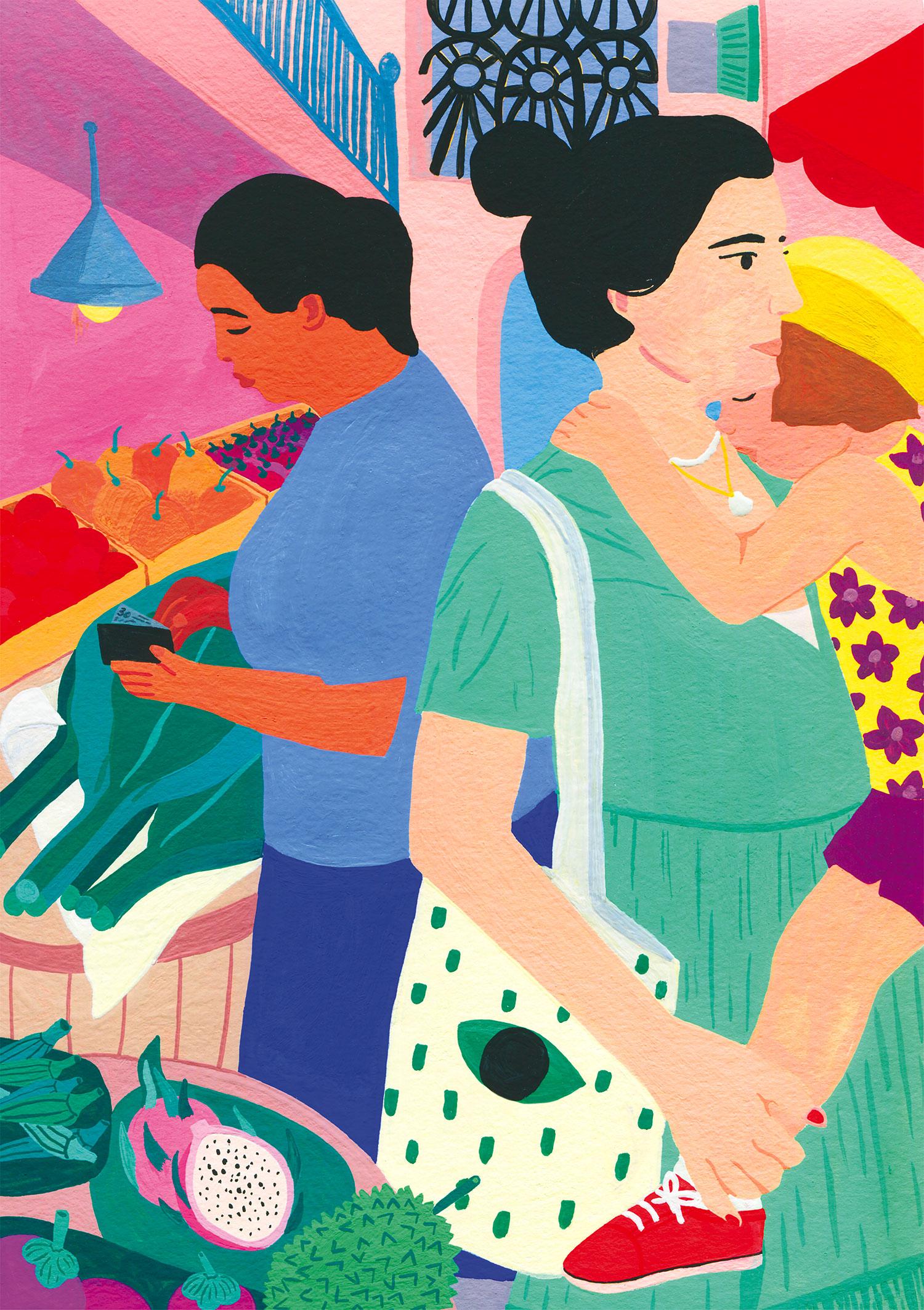 illustration-mariepellet-illustratrice-gouache-projet-personnel-bangkok-market-mère-fille-voyage-vacances