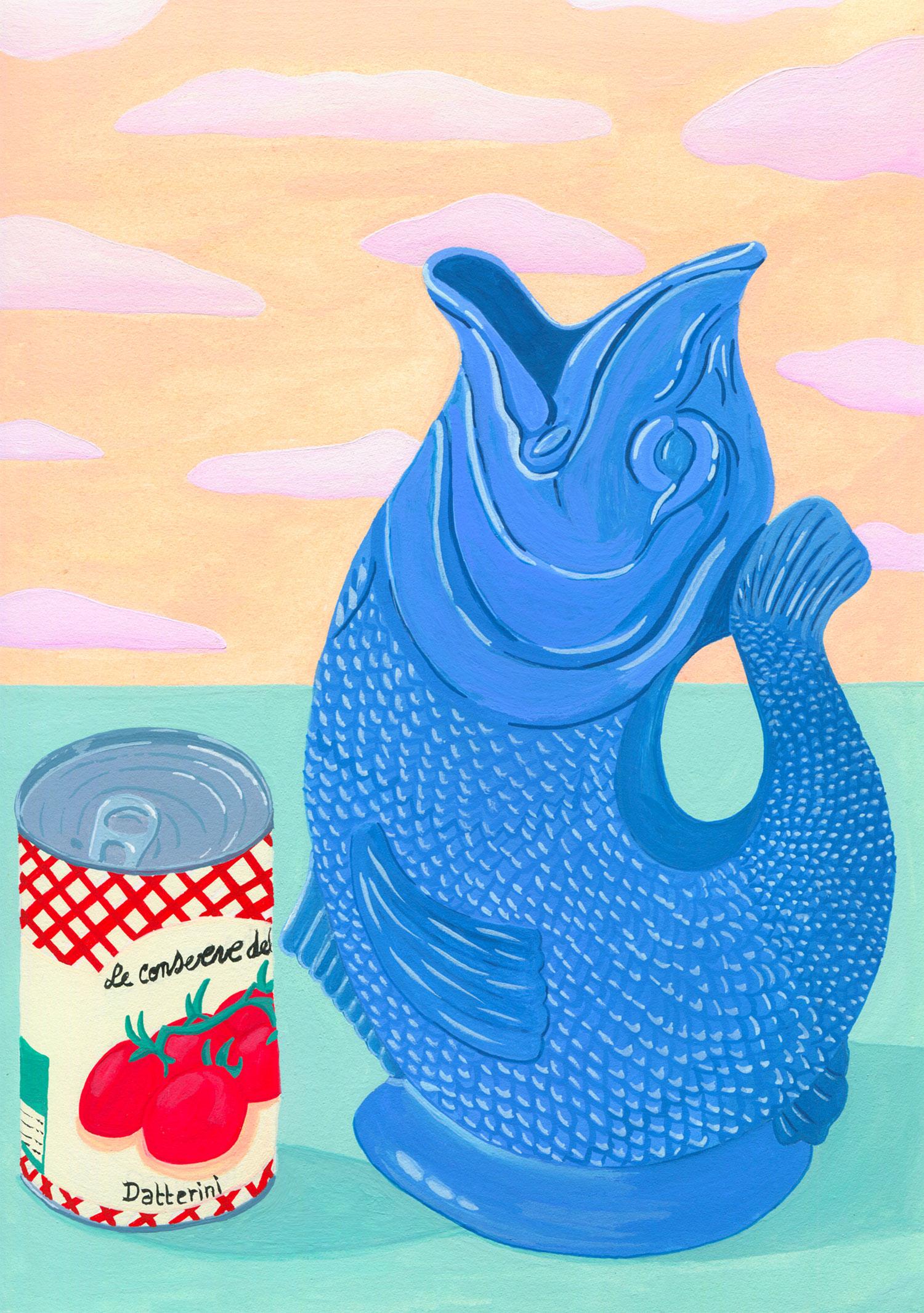 illustration-mariepellet-illustratrice-gouache-projet-personnel-blue-guggle-jug-vase-conserve-nature-morte-stilllife