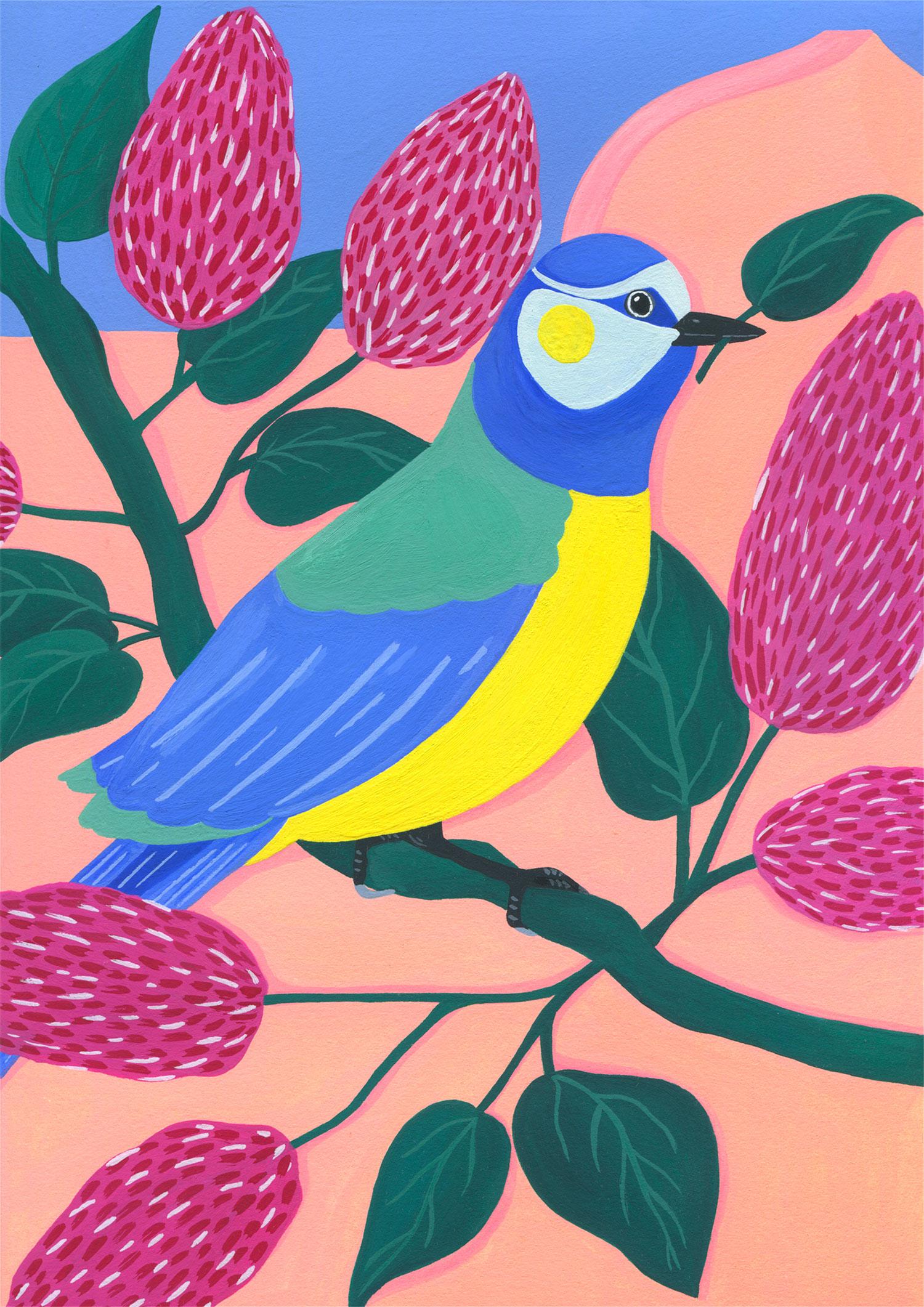 illustration-mariepellet-illustratrice-gouache-projet-personnel-blue-tit-and-lilac-fleurs-oiseaux