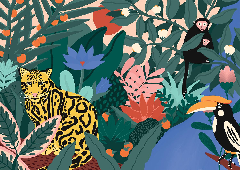 Marie-pellet-illustrations-portfolio-edition-livre-beauty-book-jungle-plantes-fruits-fleurs-toucan-singes-clouded-panther