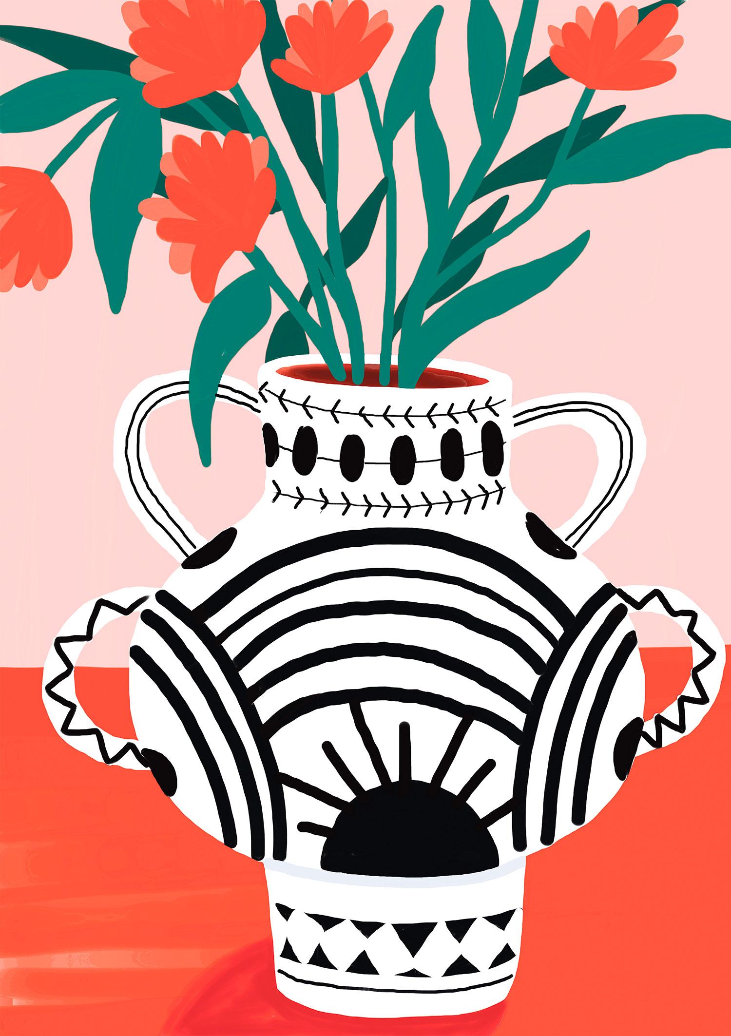 illustration-mariepellet-illustratrice-dessin-digital-projet-personnel-le-vase-fleurs-rouges-motifs