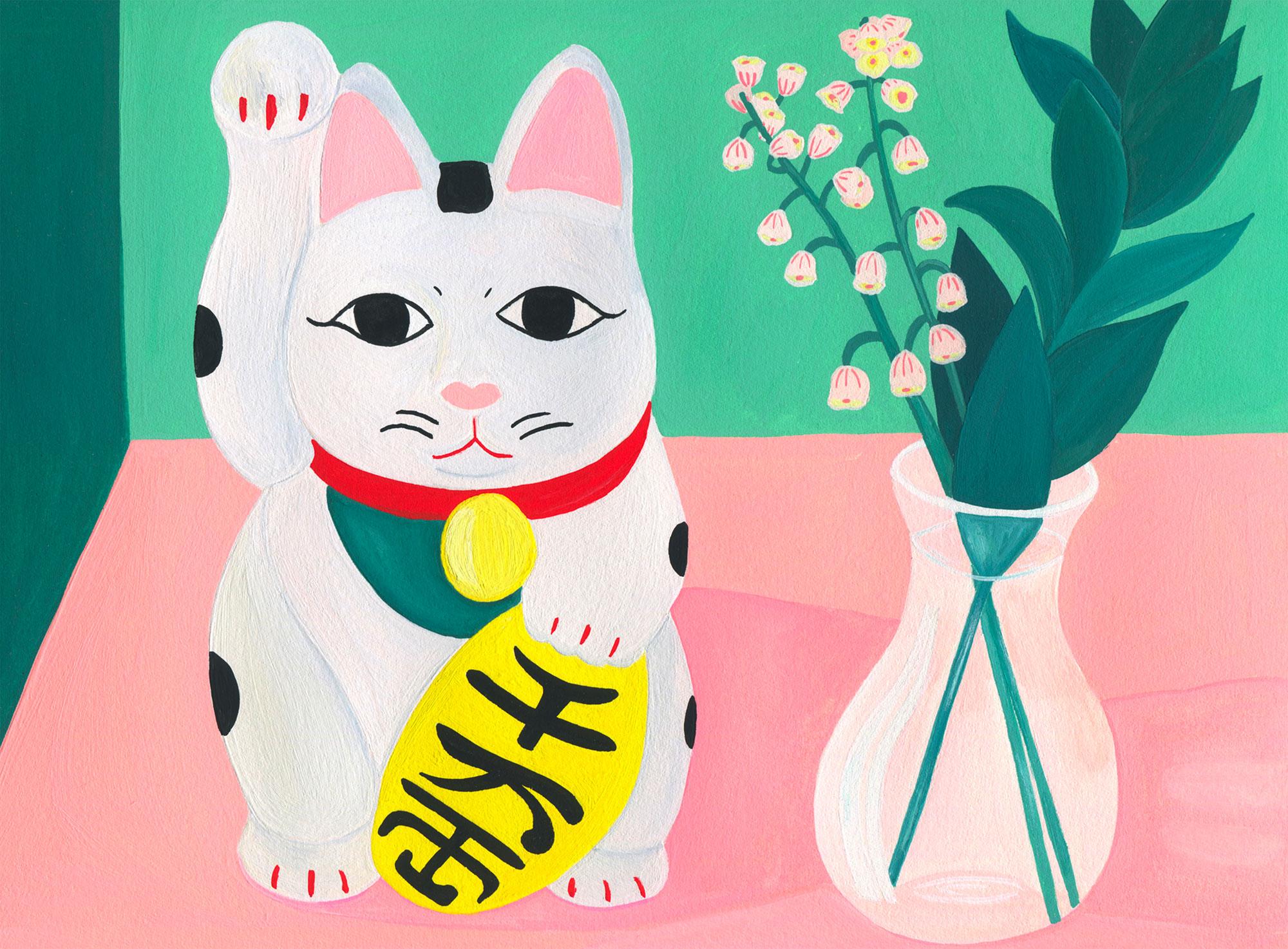 illustration-mariepellet-illustratrice-gouache-projet-personnel-lucky-cat-chat-tirelire-japon-plante-fleurs