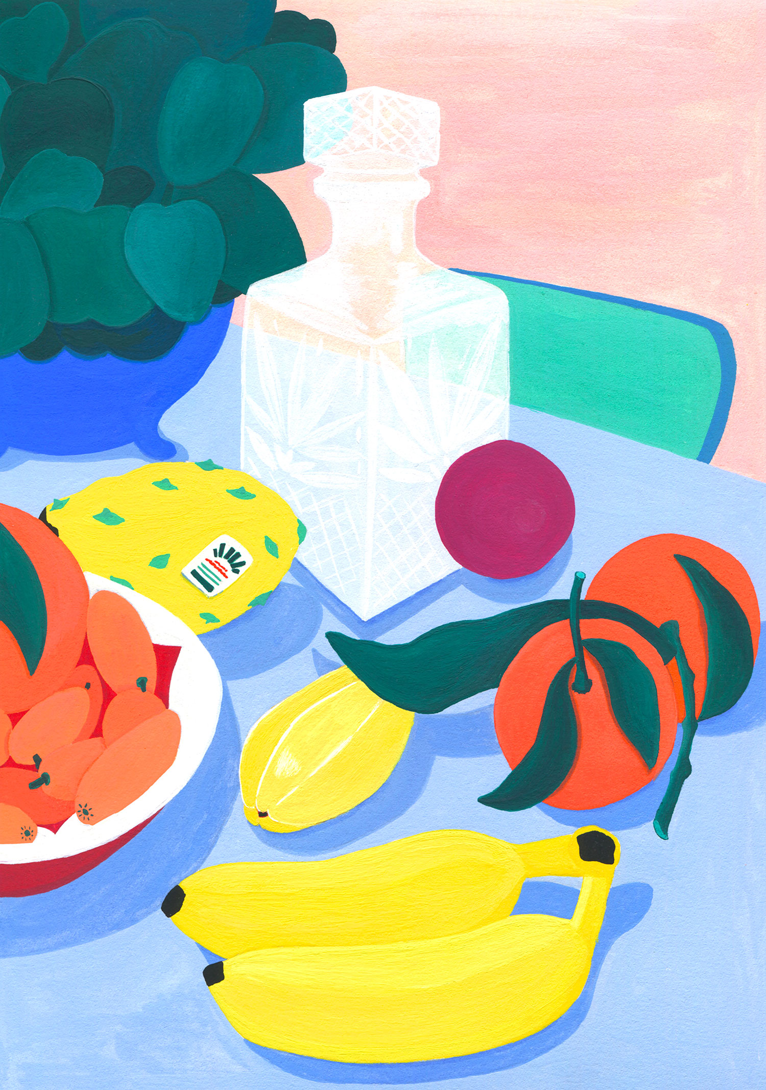 illustration-mariepellet-illustratrice-gouache-projet-personnel-still-life-fruits-plante-carafe-bananes-clementine-kumquat-nature-morte