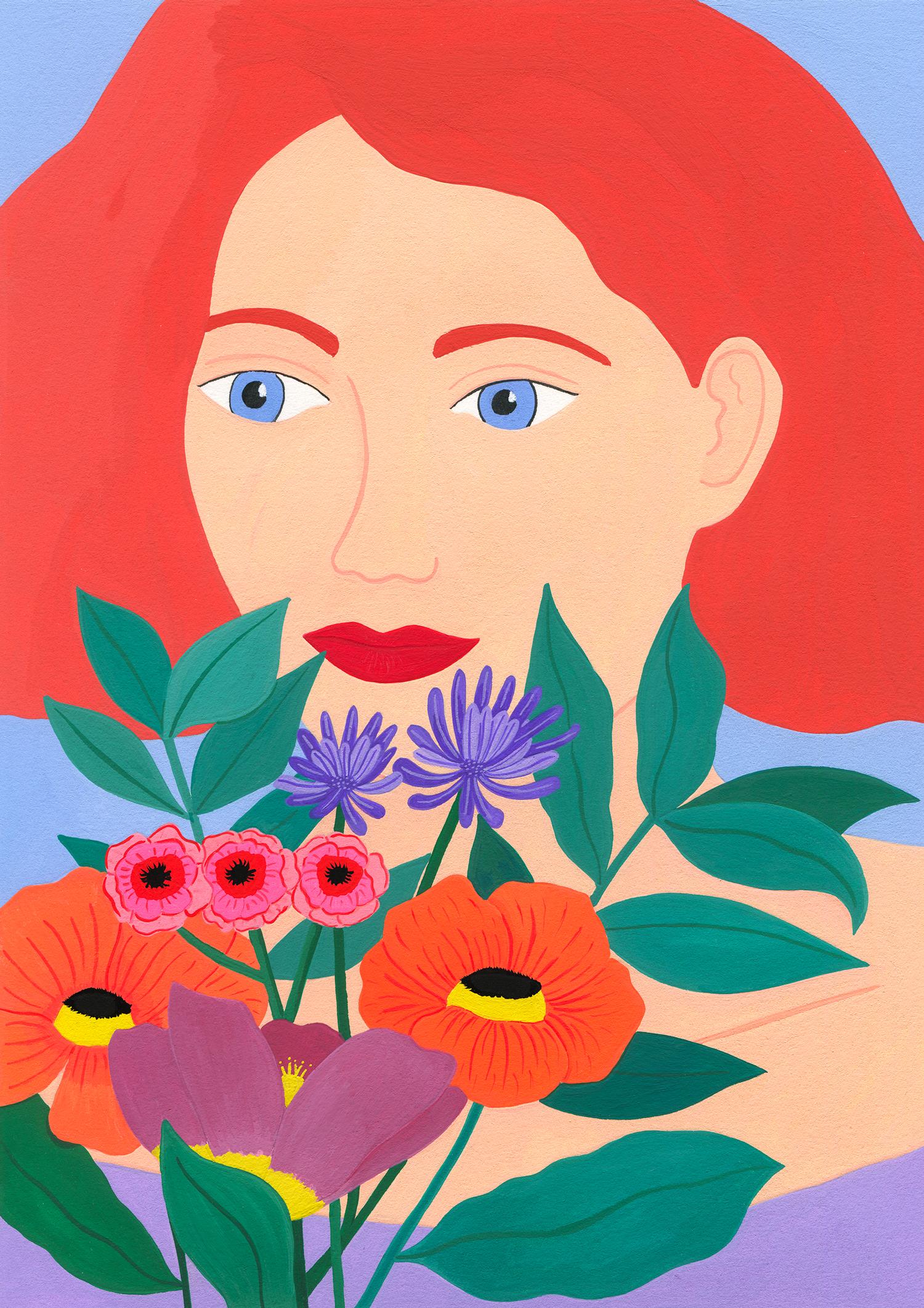 Marie-pellet-illustrations-portfolio-gouache-femmes-flowers-fleurs-couleurs-projet-personnel