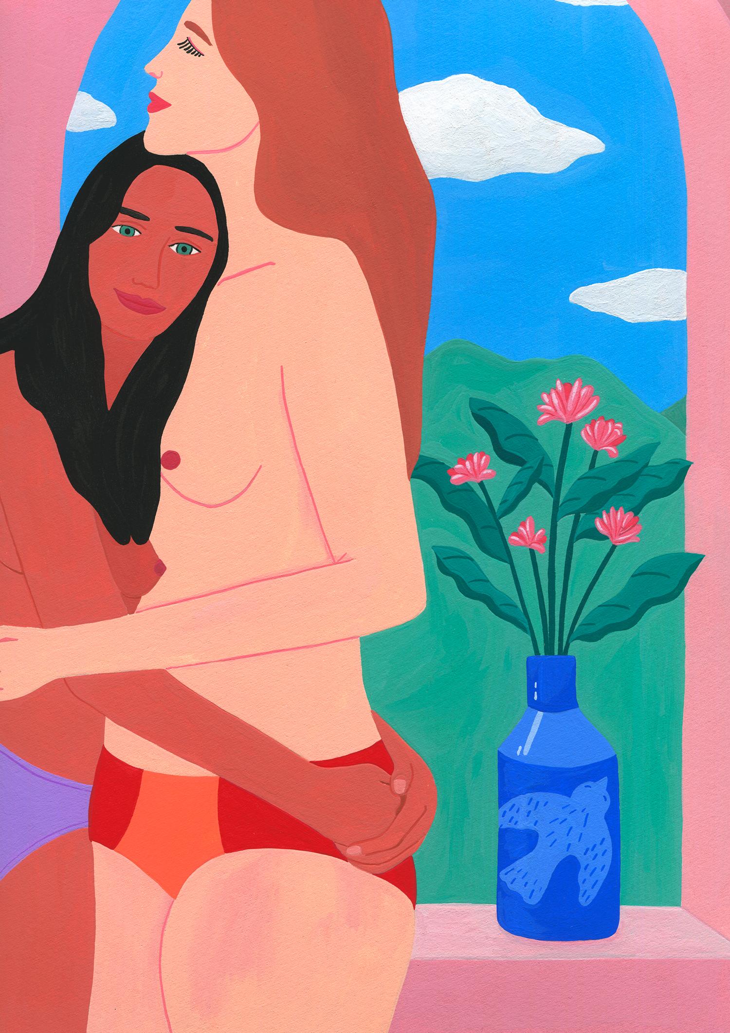 Marie-pellet-illustrations-gouache-octobre-rose-portfolio-cancerdusein-femmes-éditorial-fondation-arc