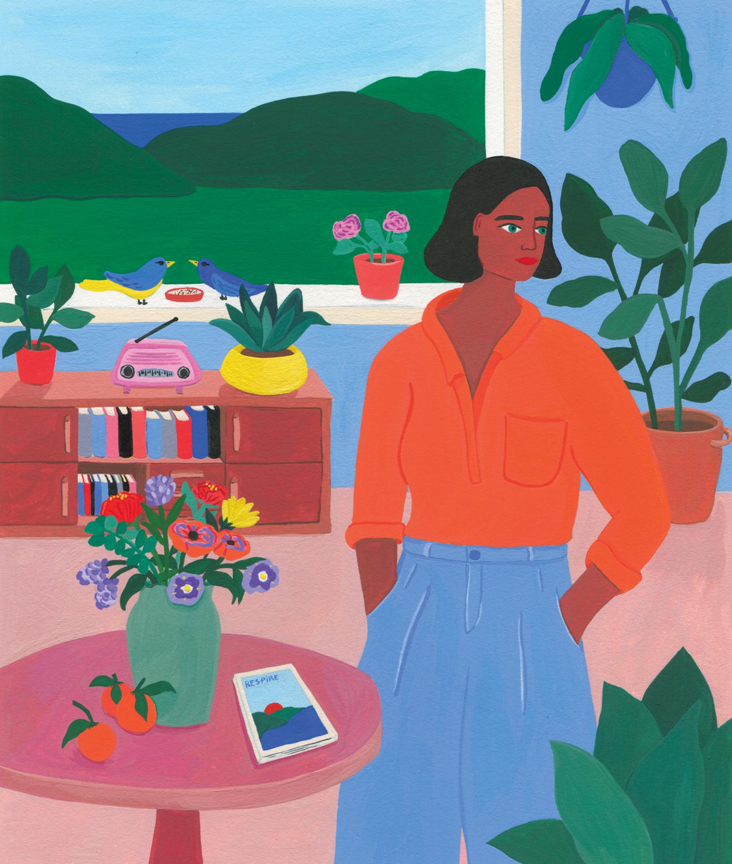 Respire - Edition - illustration - Marie Pellet - presse - éditorial - couverture - Une - printemps - nature - femme - plantes - fleurs - oiseaux - gouache - peinture - dessin