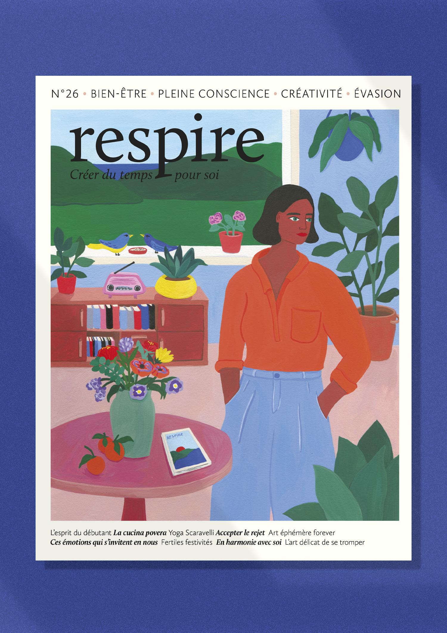 Respire - Edition - illustration - Marie Pellet - presse - éditorial - couverture - Une - printemps - nature - femme - plantes - fleurs - oiseaux