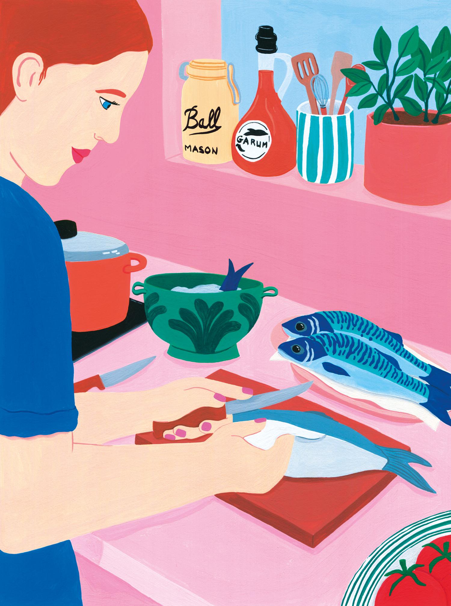 Marie-pellet-illustrations-portfolio-gouache-cuisine-chef-poisson-repas-projet-personnel