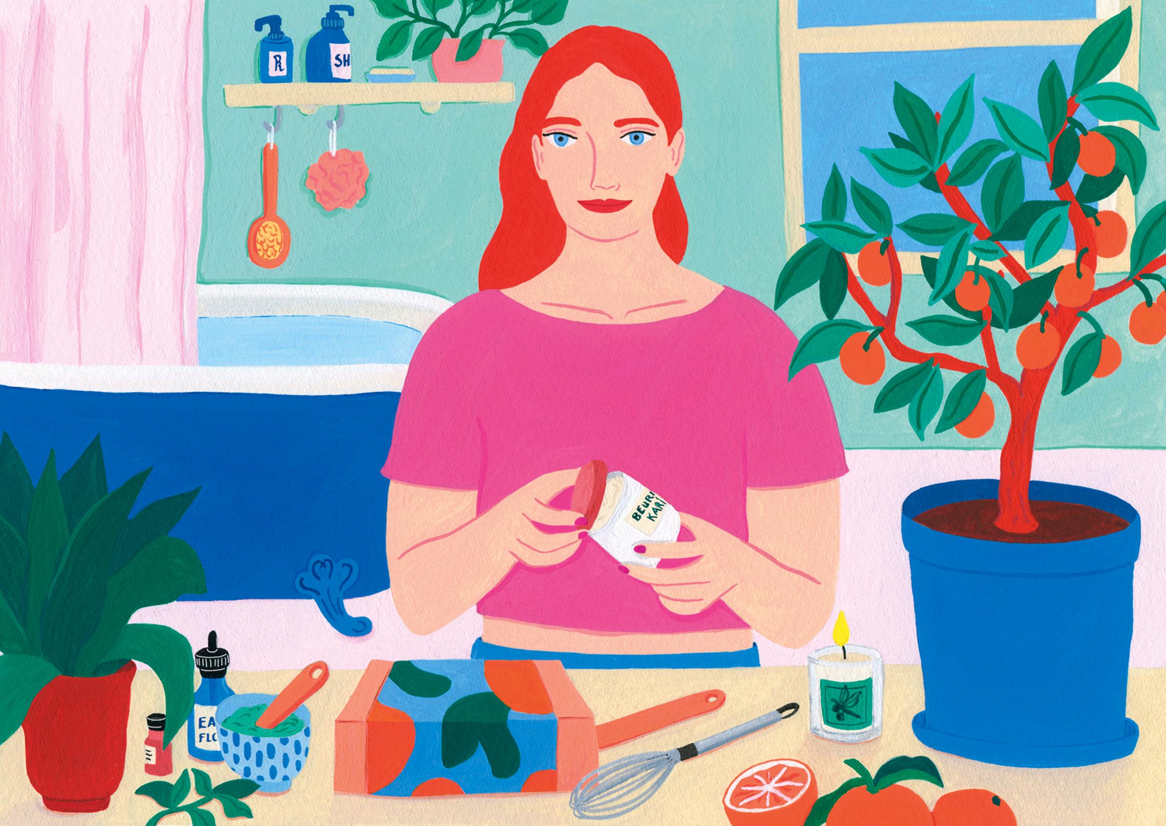 Marie Pellet - Kumaneko - eshop - site web - Illustration - cosmétiques - bio - DIY - Beauté naturelle - Kit - gouache - branding - packaging - femme - portrait