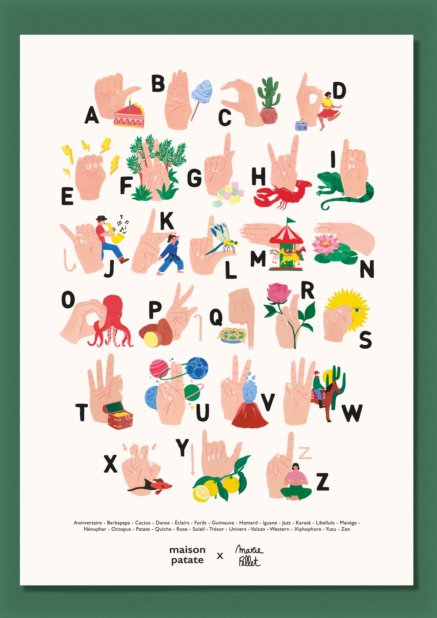 Marie Pellet - Maison Patate - abécédaire - langue des signes - LSF - Illustration - gouache - affiche