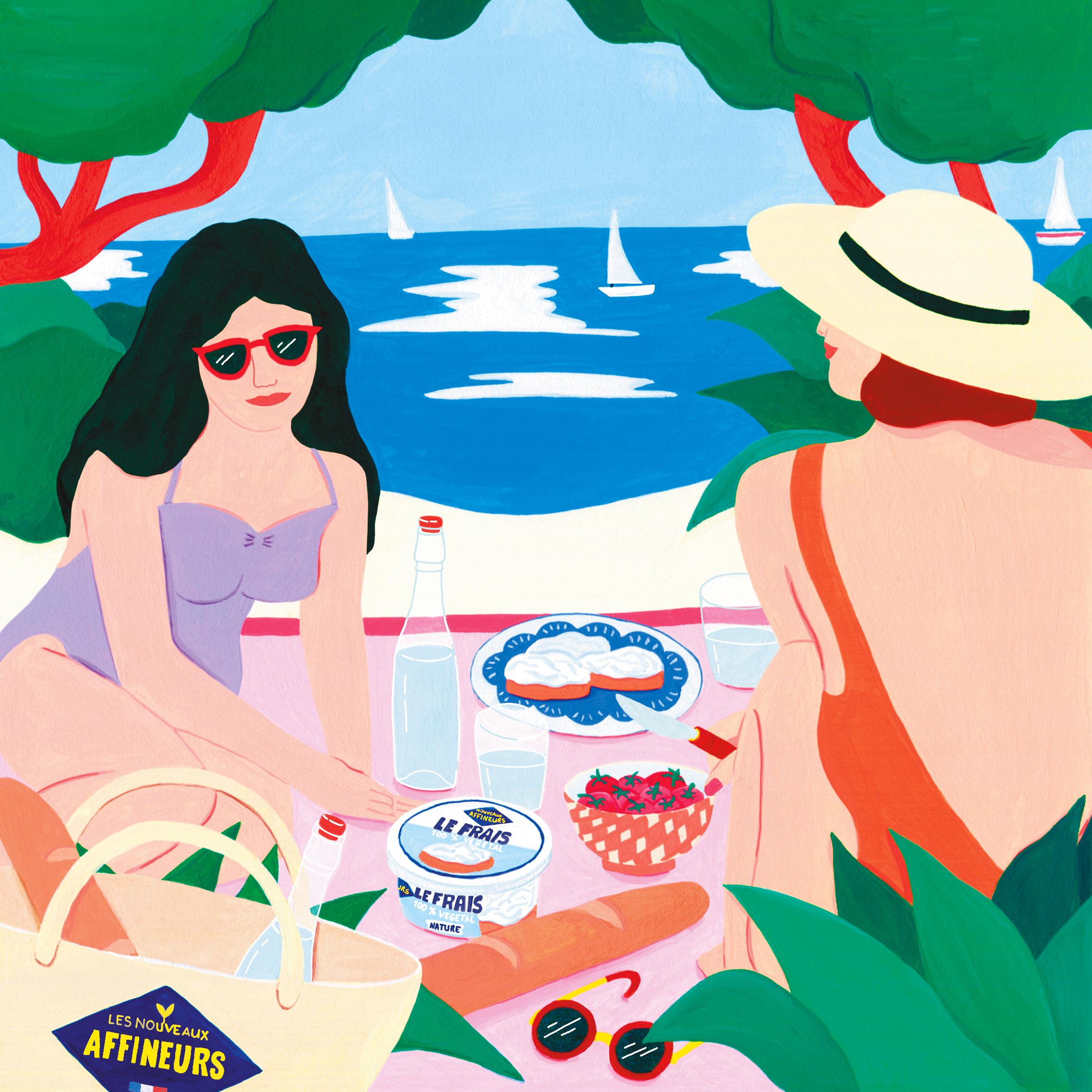 Marie-pellet-illustrations-portfolio-gouache-illustration-communication-Les Nouveaux Affineux-fromage-végétal-vegan-plage-femmes-vacances