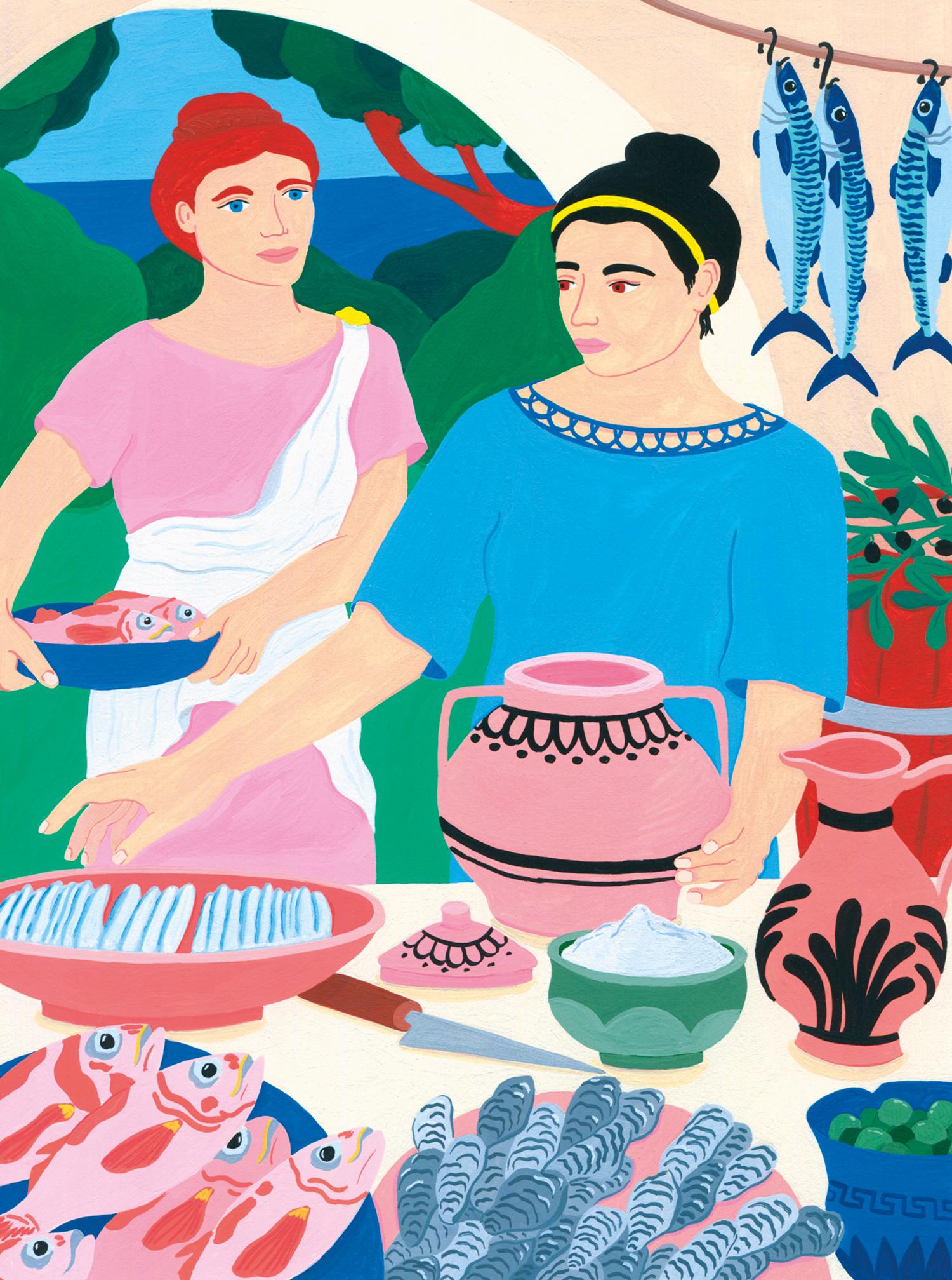 Marie-pellet-illustrations-portfolio-gouache-illustration éditoriale-ilotmagazine-magazine-presse-cuisine-chef-poisson-repas-sauces poissons