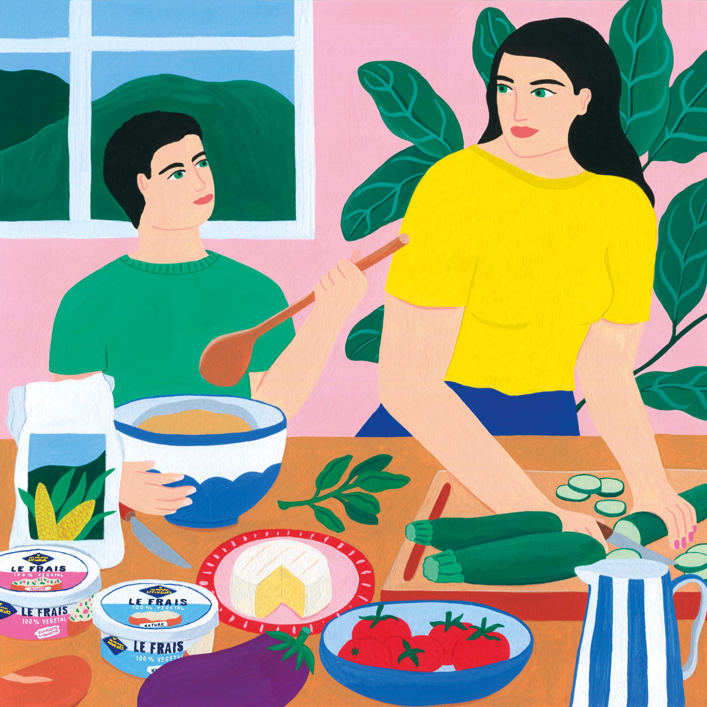 Marie-pellet-illustrations-portfolio-gouache-illustration-communication-Les Nouveaux Affineux-fromage-végétal-vegan-famille-cuisiner-slowlife