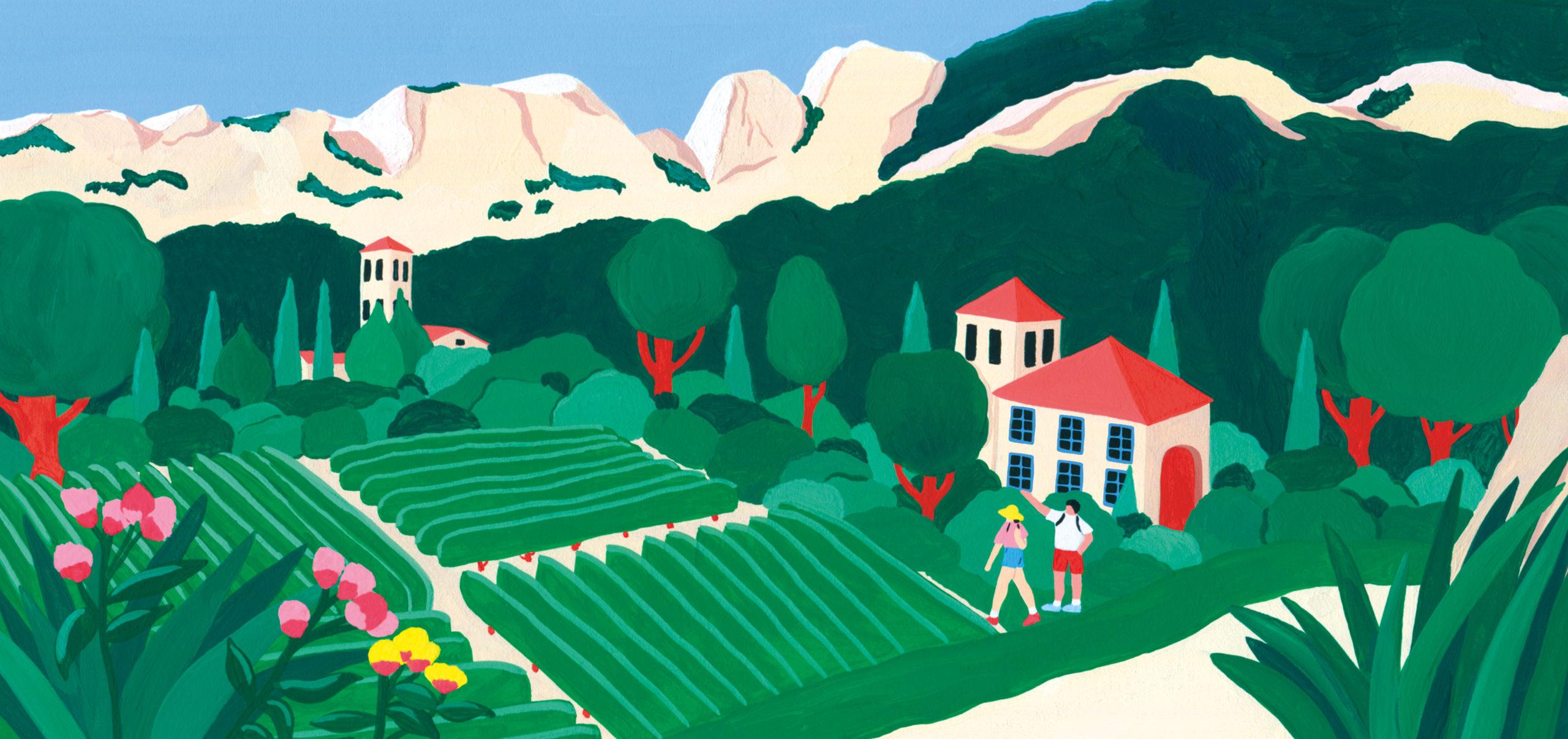 Marie-pellet-illustrations-portfolio-gouache-illustration-communication-édition-Hello-merci-vignes-vignobles-france-Dentelle de Montmiraille-vacances-été-découverte