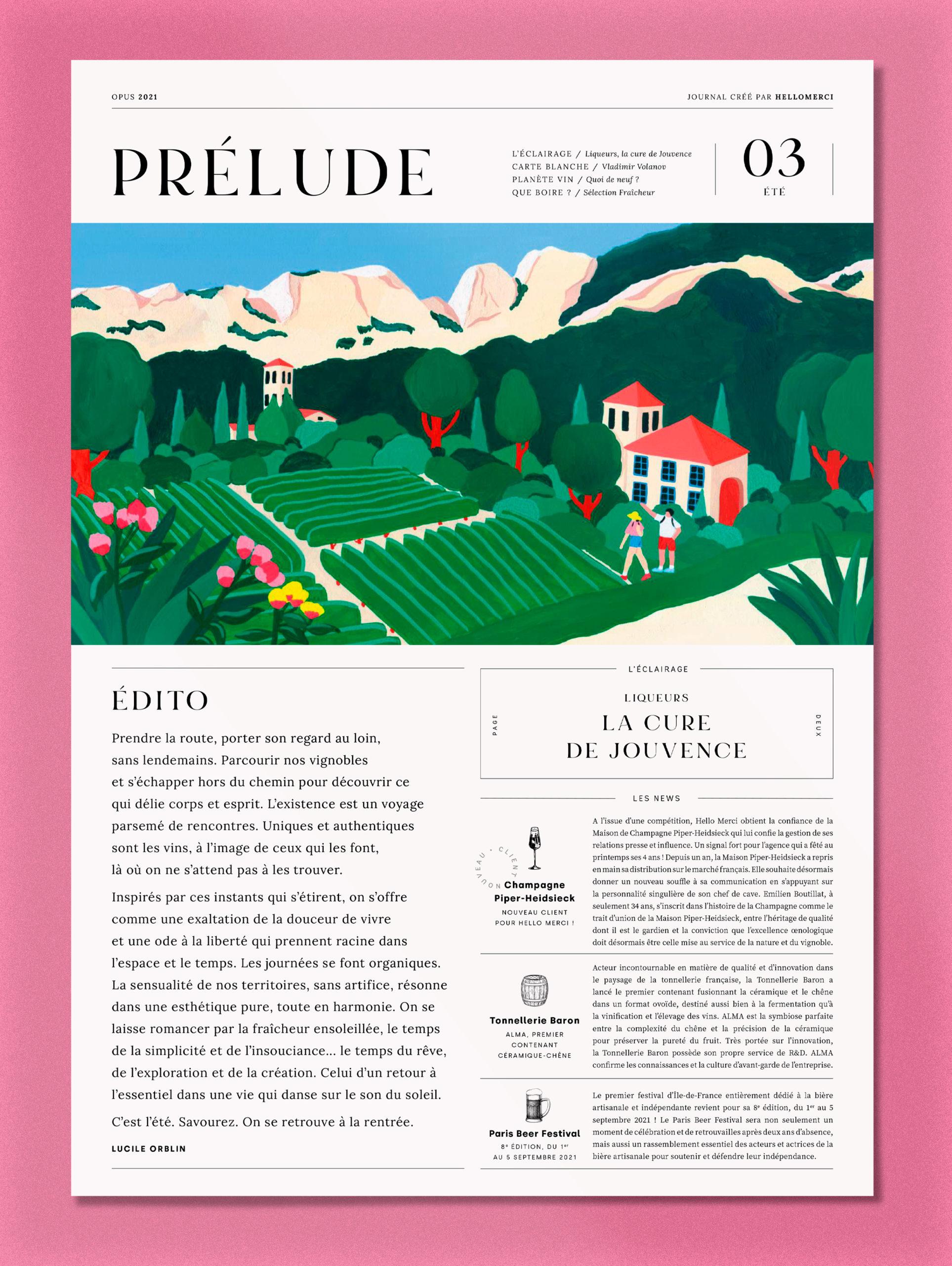 Marie-pellet-illustrations-portfolio-gouache-illustration-communication-édition-Hello-merci-vignes-vignobles-france-Dentelle de Montmiraille-vacances-été-découverte-mockup-Une