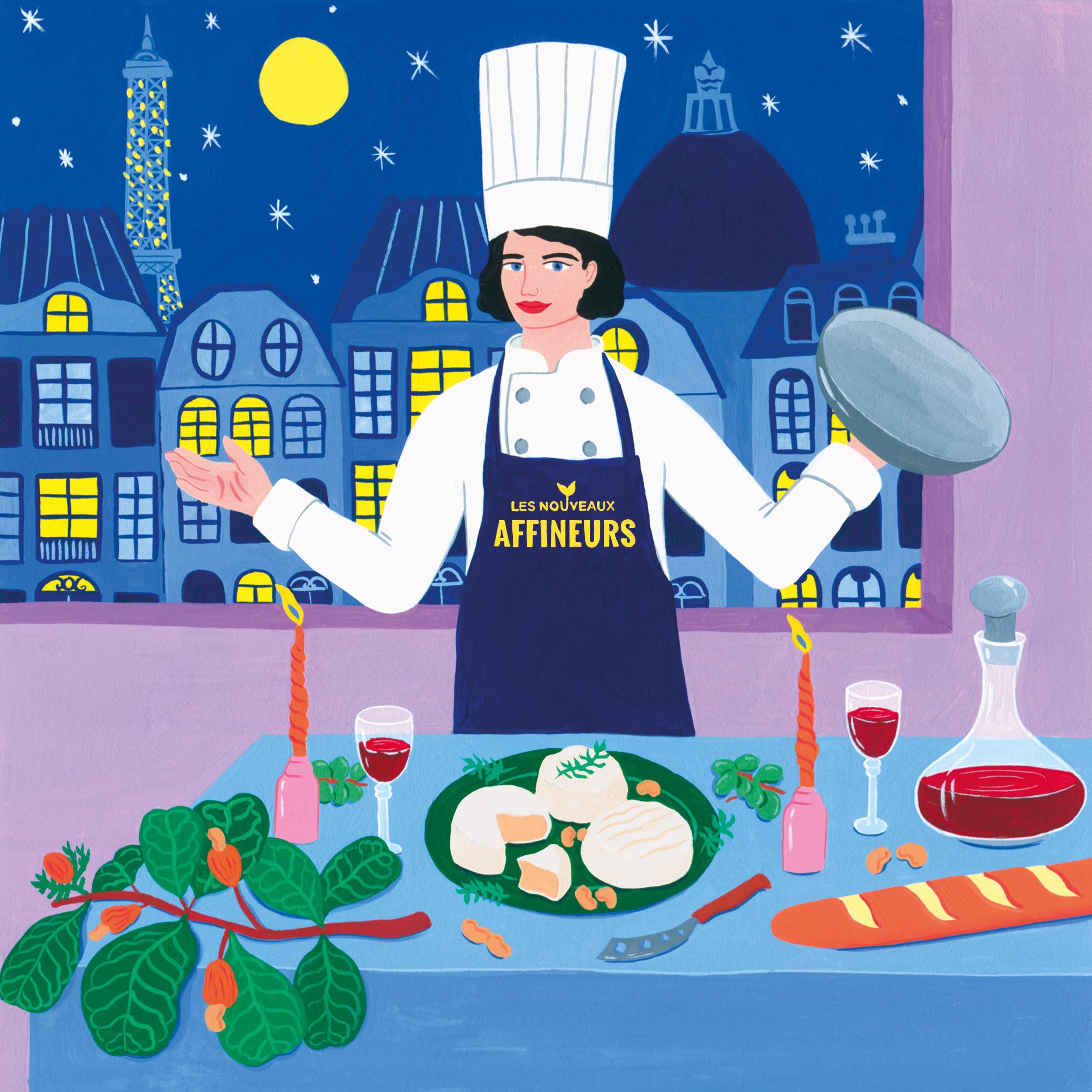 Marie-pellet-illustrations-portfolio-gouache-illustration-communication-Les Nouveaux Affineux-fromage-végétal-art de vivre-France-gastronomie-Paris-restaurant